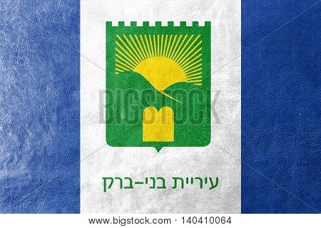 Flag Of Bnei Brak, Israel, Painted On Leather Texture
