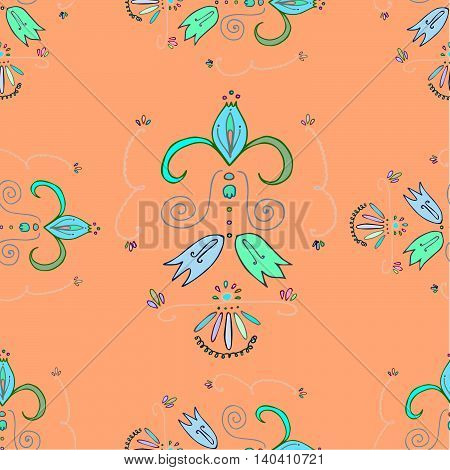 Peach ornate pattern with colorful decor elements and bellflowers. Vector eps 10, hand drawn graphics.