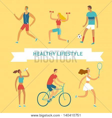 Set of cartoon people doing sport exercises. Including cycling fitness with weights tennisdrinking water running football. Healthy lifestyle illustration for your design.
