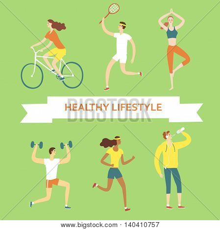 Set of cartoon people doing sport exercises. Including cycling fitness with weights tennisdrinking water running yoga. Healthy lifestyle illustration for your design.