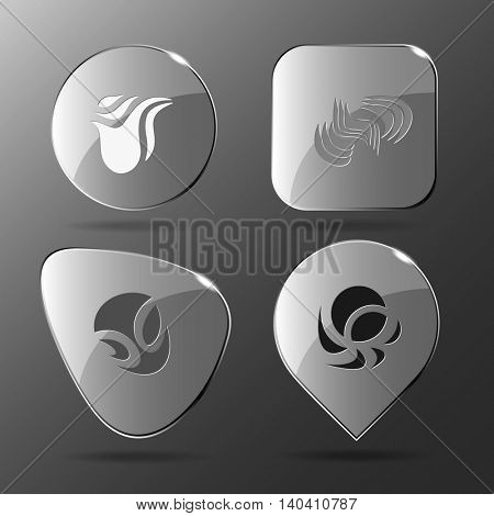 4 images of unique abstract forms.Glass buttons. Vector illustration icon.