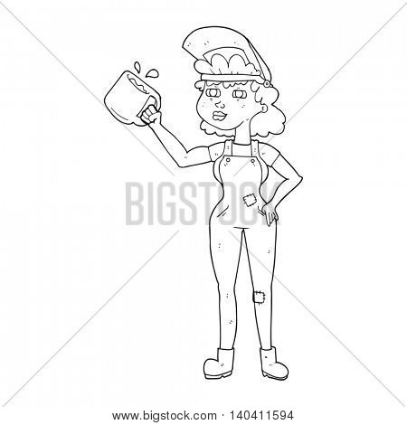 freehand drawn black and white cartoon woman in dungarees