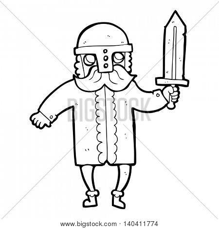 freehand drawn black and white cartoon saxon warrior