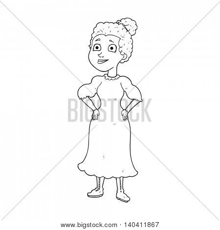 freehand drawn black and white cartoon victorian woman in dress
