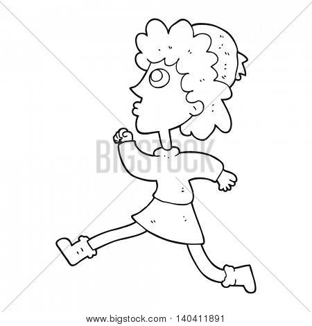 freehand drawn black and white cartoon running woman