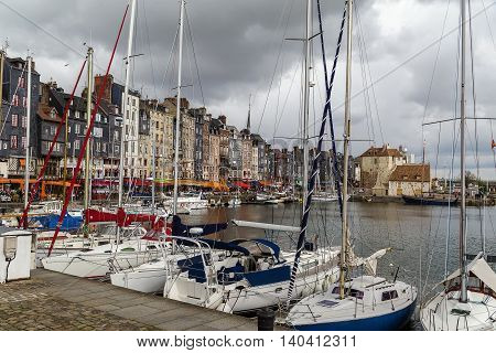 View of picturesque old port in Honfleur France
