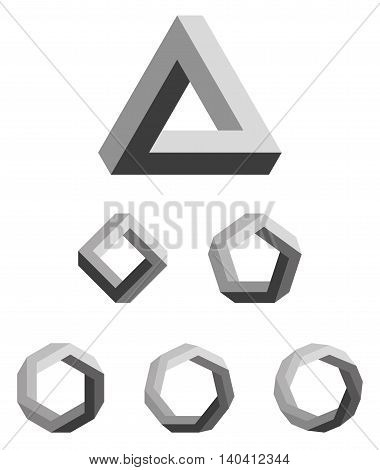 Penrose triangle and polygons gradated black. Penrose tribar, an impossible object, appears to be a solid object, made of three straight bars. Further square, pentagon, hexagon, heptagon and octagon.