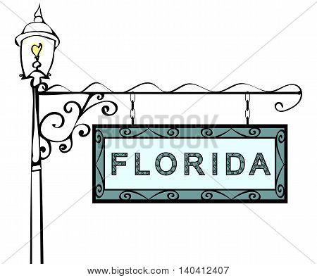 Florida retro pointer lamppost. Florida state America tourism travel.