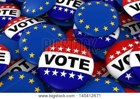 Vote And Eu Badges Background - Pile Of Polticial Campaign And European Flag Buttons 3D Illustration