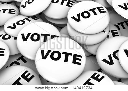 Vote Badges Background - Pile Of White Political Campaign Buttons 3D Illustration