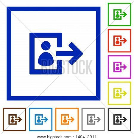 Set of color square framed user logout flat icons