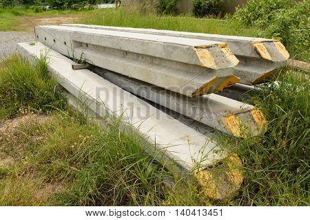 Concrete pole prepare for move to construction site.