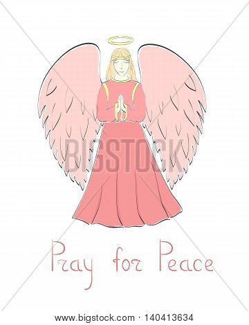 Praying Female Angel and Lettering in Pink Colors. Vector EPS 10