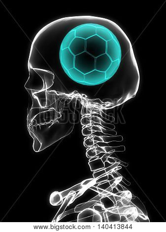 3D illustration of Xray of skull with soccer ball instead of brain.