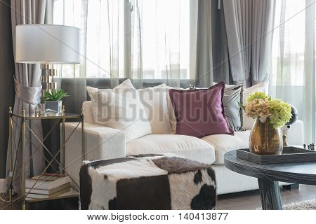 Living Room Design With White Sofa And Set Of Pillows