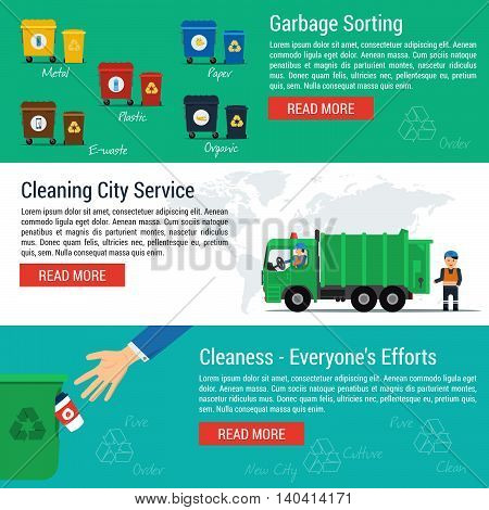 Vector three horizontal banners - cleaning city service and set of trash cans. Truck, worker and garbage containers