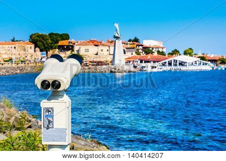 Spyglass looking at old town panorama in Nessebar or Nesebar in Bulgaria, Black sea