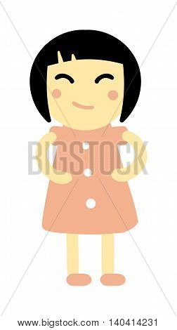 Cute baby kid girl and cute child character vector. Cute girl beautiful fashion young female and cute girl dress kid love child. Cute girl dress kid love child and cute happy girl. Cartoon character.