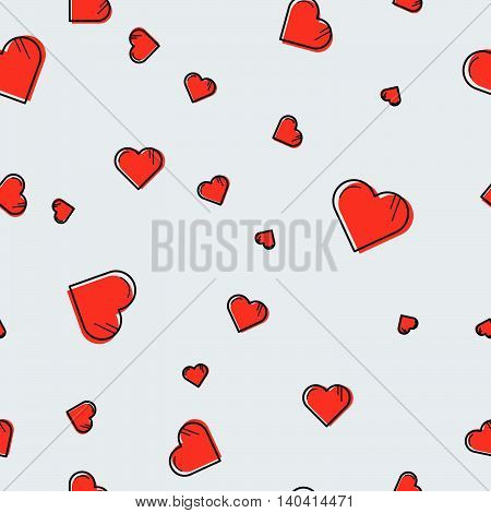 Vector seamless pattern with red lineart hearts scattered on grey background