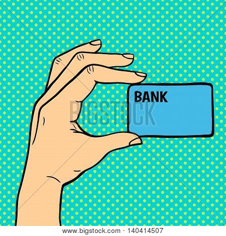 Human hand holding bank card pose signal human fingers. Human hand isolated. Silhouette of hand showing symbols finger thumb vector illustration. Bank, money, shopping concept
