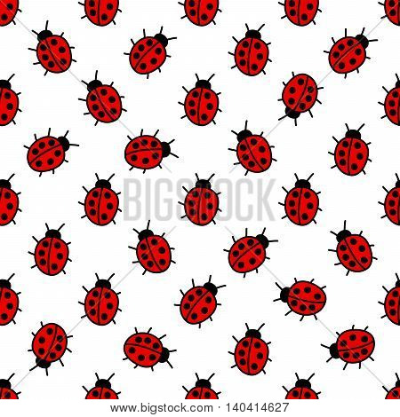 Bright seamless pattern of ladybugs crawling over white background.