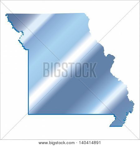 3D Missouri (USA) Iridium Blue outline map with shadow