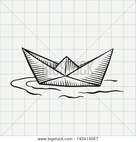 Paper ship doodle icon. Hand drawn sketch in vector