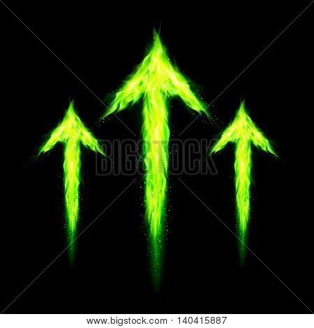 Three green fire arrows directed upward. Illustration on black background