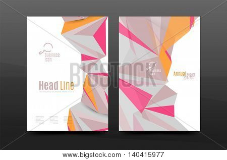 Triangle shapes. Business annual report cover. A4 size presentation flyer or corporate correspondence report