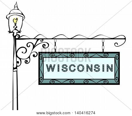 Wisconsin retro pointer lamppost. Wisconsin state America tourism travel.