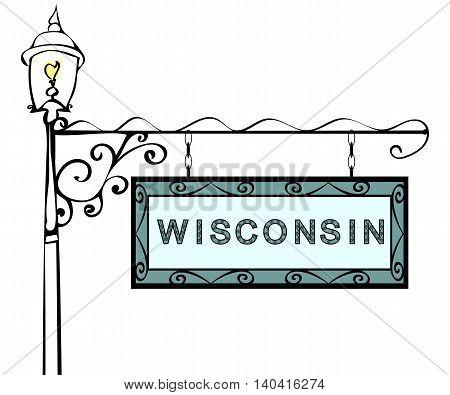 Wisconsin retro pointer lamppost. Wisconsin state America tourism travel.