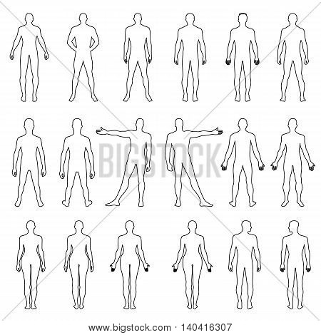 Full length front back human outlined silhouette vector illustration isolated on white