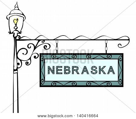 Nebraska retro pointer lamppost. Nebraska State America tourism travel.