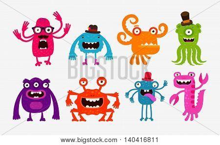 Cartoon monsters, bogeyman set icons. Vector illustration