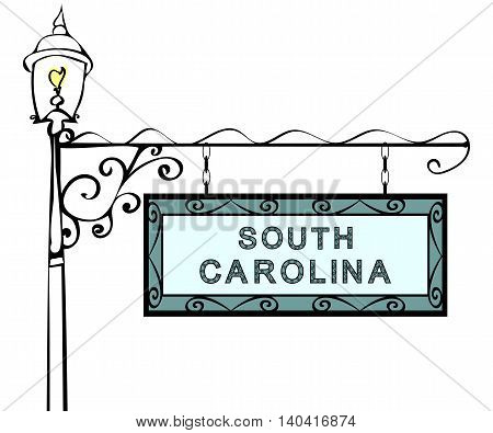 South Carolina retro pointer lamppost. South Carolina State America tourism travel.
