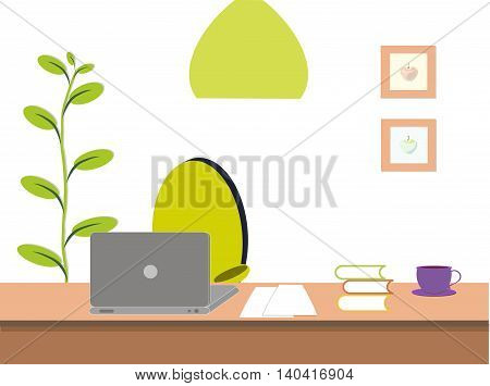 Working place, grey laptop at brown desk, green chair, chandelier, pot, violet cup, vector illustration on white