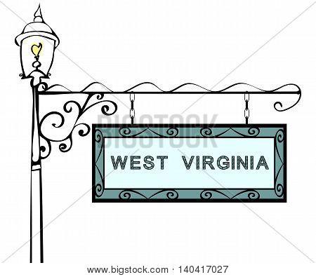 West Virginia retro pointer lamppost. West Virginia State America tourism travel.
