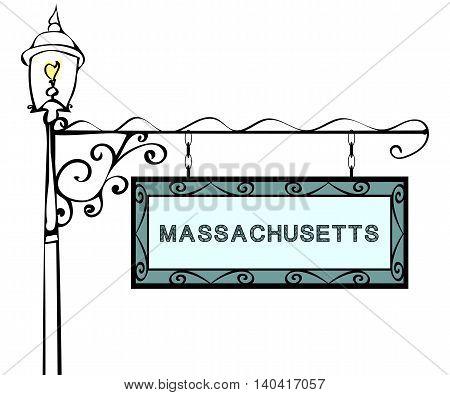 Massachusetts retro pointer lamppost. Massachusetts State America tourism travel.