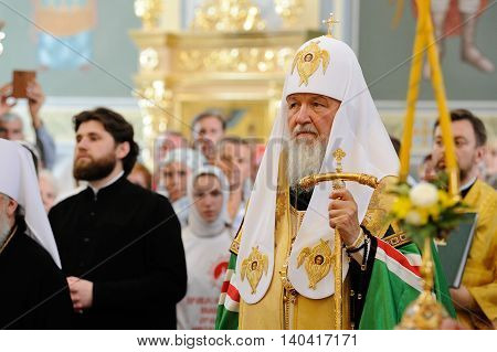 Orel Russia - July 28 2016: Russia baptism anniversary Divine Lutirgy. Patriarch Kirill in festive garments with golden crozier closeup