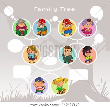 Funny cartoon. Vector illustration. Image diagram of the family tree