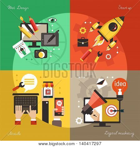 Modern web concepts set flat vector digital marketing start up business idea web design.