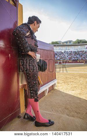 Andujar SPAIN - September 7 2014: Spainish bullfighter totally focused moments before leaving to fight in Bullring of Andujar Spain