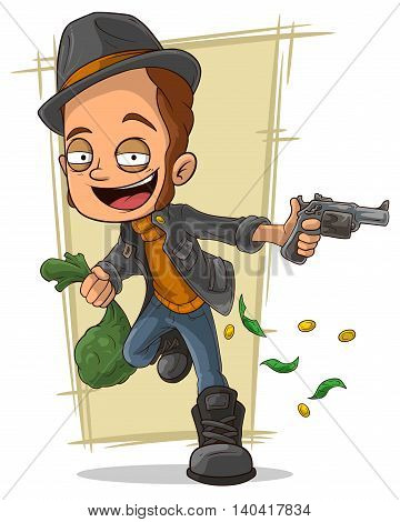 A vector illustration ofcartoon cool robber with gun and money
