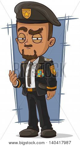 A vector illustration of cartoon crafty general in dress uniform