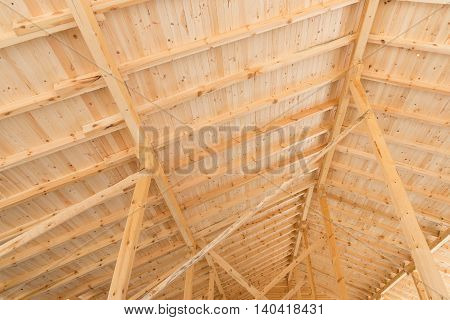 Wooden roof under construction - copy space