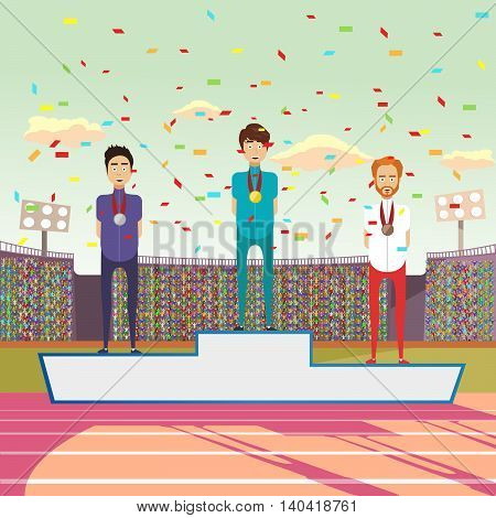 Three athlete standing on a pedestal. Vector illustration,