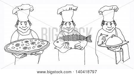 Chef cook cartoon set on white background