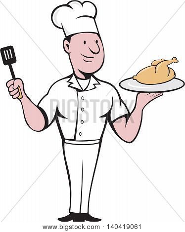 Illustration of a chef cook standing serving roast chicken on a platter on one hand and holding a spatula on the other hand viewed from front set on isolated white background done in cartoon style.