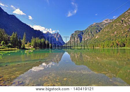 Dobbiaco lake in Veneto province in Italy