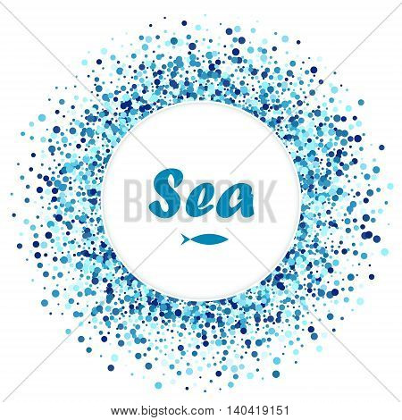 Vector creative greeting card of blue round circles with fish. Sea design.